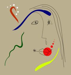 Woman portrait in joan miro style vector