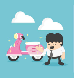 Businessman with a new pink scooter vector