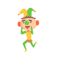 funny cartoon clown in a jester hat with green vector image