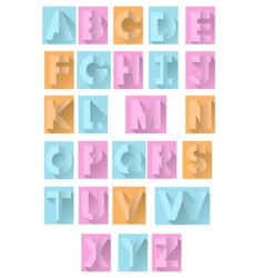 retro colorful paper alphabet vector image