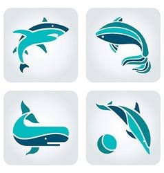 Sea animals mosaic icons vector image