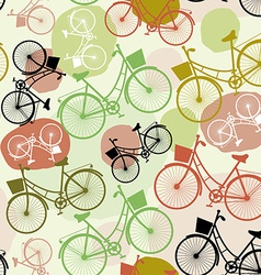 Vintage bicycles seamless pattern pastel green vector image