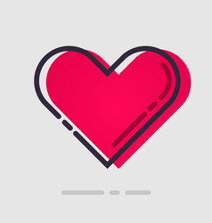 abstract flat red heart icon vector image vector image