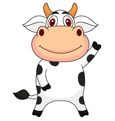 Cute cow cartoon waving vector image vector image