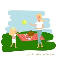 Family picnic resting Mother with daughter on vector image