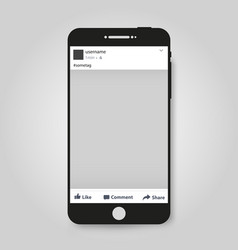 realistic modern phone with social network post vector image vector image