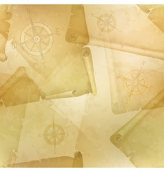 Yellow seamless texture with a compass and old vector image