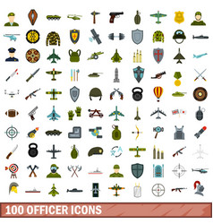 100 officer icons set flat style vector image