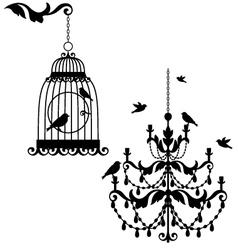 Birdcage and chandelier vector image
