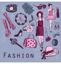 Hand drawn fashion background vector image