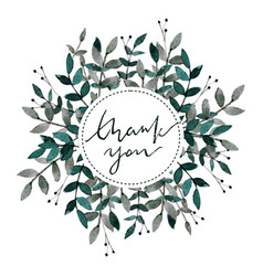 hand drawn watercolor card thank you soft green vector image