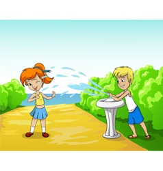 kids play with water in summer day vector image vector image