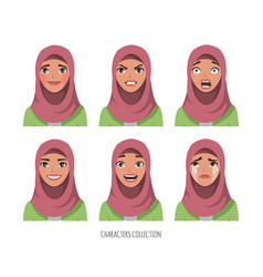 muslim young woman wearing hijab set of emotions vector image vector image