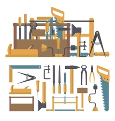 set of carpenter tools and instruments in vector image