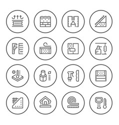 set round line icons of insulation vector image vector image