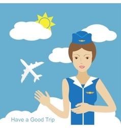 Stewardess woman smiling vector image vector image
