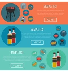 Barbecue grill horizontal website templates vector