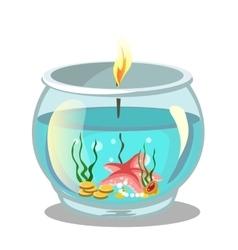 Burning candle in aquarium vector image vector image
