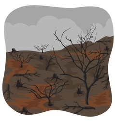 Charred trees after forest fire vector image vector image