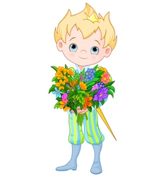 Cute Little Prince Holds Flowers vector image vector image