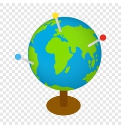 Globe with markers isometric 3d icon vector image vector image