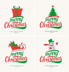 modern hand drawn lettering phrase merry christmas vector image vector image