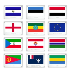 National Flags on Metal Texture Plate vector image vector image