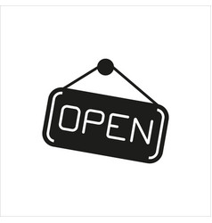 open hanging door plate simple icon on white vector image