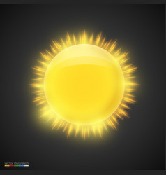 realistic gold sun on dark background vector image vector image