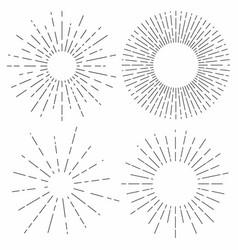 sunburst set sunshine rays in vintage style light vector image