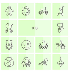 14 kid icons vector image