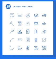 25 wash icons vector image