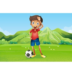 A football player at the field vector image