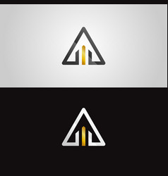 abstract gold-silver property triangle logo vector image