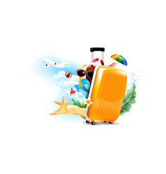 air plane open luggage travel case with starfish vector image