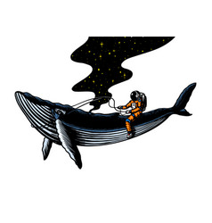 Astronaut spaceman with blue whale astronomical vector