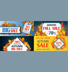 autumn sale fall season concept set cartoon style vector image