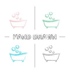 Baby bathtub hand drawn icons set vector