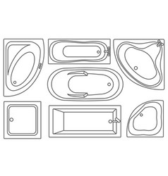 Bathtub contours top view collection vector