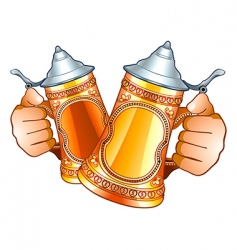 Beer steins vector