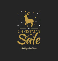 black christmas sale poster vector image
