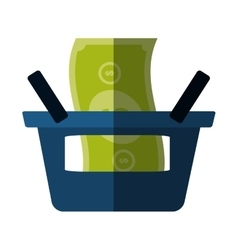 Blue basket shop bill money color shadow vector