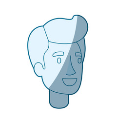 Blue color silhouette shading of man face with vector