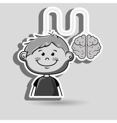 Boy kid brain cable idea vector