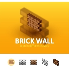 Brick wall icon in different style vector image