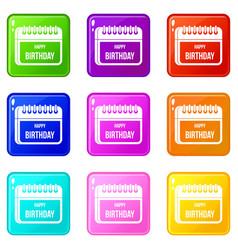 Calendar happy birthday set 9 vector