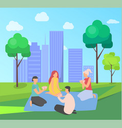 Characters playing cards in city park cityscape vector