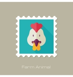 Chicken flat stamp Animal head vector image vector image