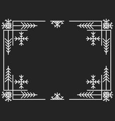 christmas art deco frame vintage linear border vector image