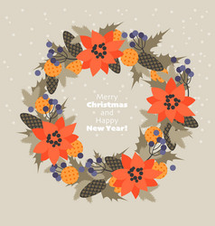 christmas wreath fir branches cones flowers vector image